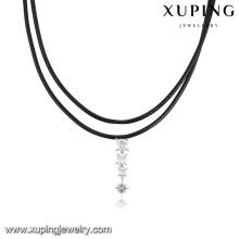00136-joyería al por mayor collar de gargantilla de cuero negro con diamantes