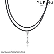 00136-wholesale jewelry diamond leather black choker necklace