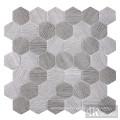 Hexagon Grey Wood Pattern Glass Mosaic Tile