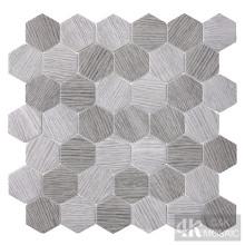 Tuile de mosaïque en verre à motif hexagonal en bois gris
