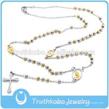 3MM en acier inoxydable deux pierre chapelet perles collier de croix de bijoux pour les gars