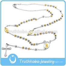 3MM Stainless steel Two Stone Rosary Bead Jewelry Cross Necklace For Guys