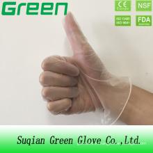 Прозрачные порошковые / порошковые одноразовые медицинские виниловые перчатки (сертифицированы по ISO, CE)