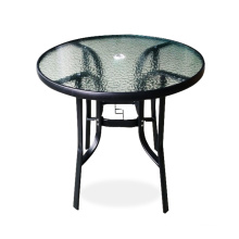 Patio Round Glass Top Table Outdoor Coffee Table with Umbrella Hole