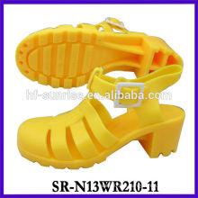 SR-N13WR210-11 (2) sandálias da geléia do salto alto sandálias plásticas sandálias do pvc dos ldies sandálias da geléia por atacado