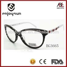 Gafas ópticas eyewear del acetato de moda de la señora con el marco adornado del acero inoxidable