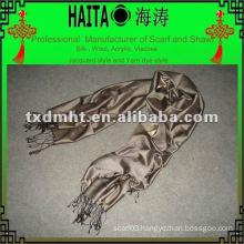 Shiny grey silk shawl HTC168-14