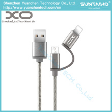 Cable de datos USB de carga trenzada 2 en 1 USB para iPhone Android