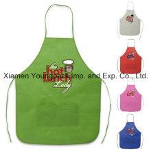 Barato Promocional personalizado impreso no tejido de cocinar delantal con bolsillos
