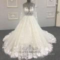 Custom Made Lace Wedding Dress Bridal Gown Golden Crystals Transparent Long Sleeve Bridal Dresses Plus Size Women Dresses