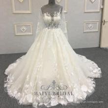 Vestido de novia de encaje por encargo Vestido de novia cristales dorados Vestidos de novia de manga larga transparentes Tallas grandes Vestidos de mujer