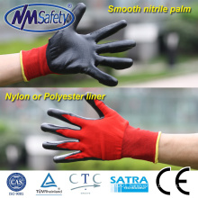 NMSAFETY 13 gauge red nylon dipped black nitrile gloves