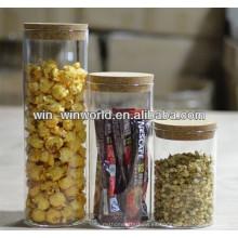 Precio competitivo Botellas y frascos de almacenamiento de granos de vidrio borosilicato con tapa de corcho