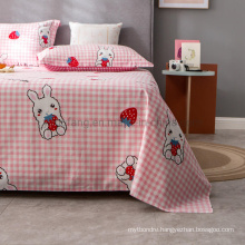 Wholesale Bed Sheet Set Cheap Price Cotton Printed Pink Plaid Full Bed Linen