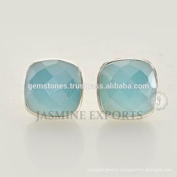 925 Sterling Silver Stud earrings Blue Chalcedony Gemstone Silver Earrings For Women