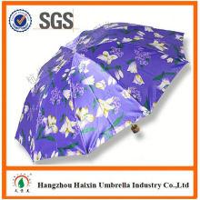 Neueste Fabrik Großhandel Sonnenschirm Print Logo Werbe manuelle 3 faltbaren Regenschirm