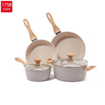2019 amazon hot sell cookware 6sets for 28cm,24cm deep fry pan 24 cookpot 18milk pot