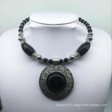 Grand collier attrayant de base d'alliage de pierre noire (XJW13777)