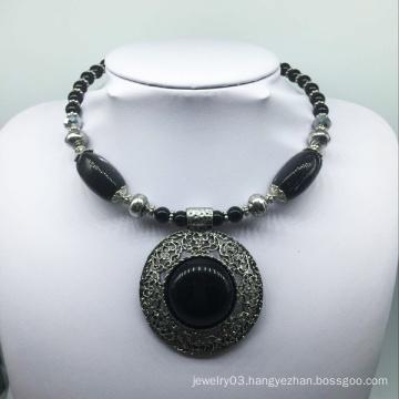 Big Attractive Black Stone Alloy Base Necklace (XJW13777)