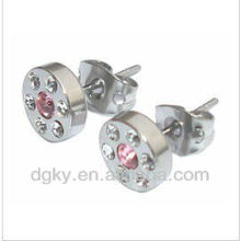 Magnetic ear piercing,stainless steel jeweled ear studs