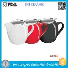 Tetera de cerámica roja negra y blanca de 750 ml con infusor de acero inoxidable