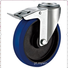 Rodízio de borracha industrial europeu do rodízio de 80mm withbrake