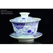 """""""Orchid Ratan"""" Peinture Bleu & Blanc Porcelaine Gaiwan 180cc"""