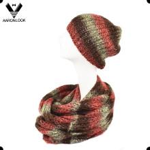 Espaço tingido Acrílico Sequins Fios Inverno Tricô Infinity Scarf e Hat Set