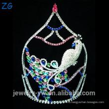 Мода Дизайн Цветные Rhinestone Pageant Тиара Павлин Корона свадебной короной ювелирных тиара свадьбы