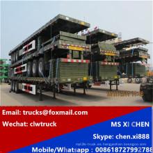 CLW 3 ejes 40 pies contenedor transporte cama plana remolque