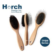 Hair Grooming Body Care Smooth Wooden Handle Dog Bristle Brush