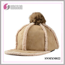 Korean Warm Lovely Hiphop Hat Plush Fur Ball Flat-Brimmed Cap (SNMXM022)