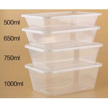 500 ml Einweg-Mikrowelle klar PP Kunststoff rechteckigen Lebensmittelbehälter mit Deckel