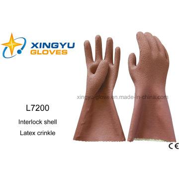 Latex Crinkle Interlock Shell Safety Work Glove (L7200)