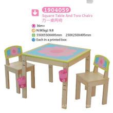 Mesa de jogo quadrada e duas cadeiras Mobiliário infantil Mobiliário infantil