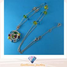 Bonne qualité et bijoux fantaisie à la mode Bijouterie en couleur CZ Collier en argent sterling N6779