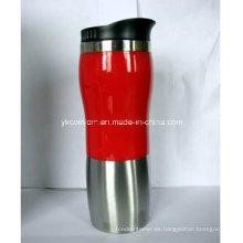 Taza de acero inoxidable de 16 onzas con caparazón rojo