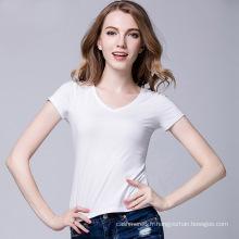 2017 En Gros Design De Mode Personnalisé Impression 100% Coton Personnalisé V Cou Femmes Blanc T Shirt