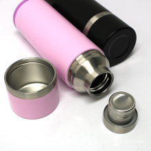 Travel storage stainless steel water bottle vacuum double walled with s.s. spoon