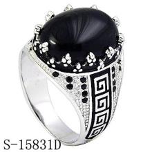 Joyería de moda Anillo de plata de ley 925 con ágata negra