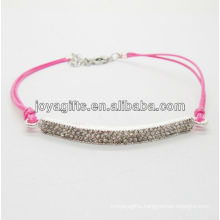 Diamante alloy woven bracelet with rose wire