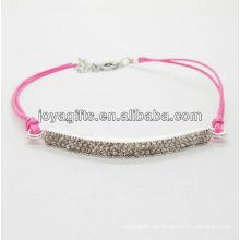 Diamante liga pulseira tecida com fio rosa