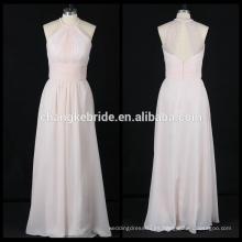 Longitud gasa vestido de dama de honor sin mangas plisados vestido de fiesta vestido
