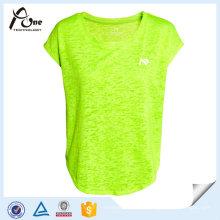 Fashion Neon Color Plain T-shirts Vêtements de sport pour filles