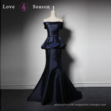 LSQ014 Real navy satin two pieces mermaid kids net design name brand cocktail party dress