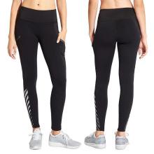 Calças de yoga sexy fitness com malha preta e listras reflexivas