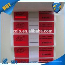 Fita adesiva inviolável selos personalizados para prova de adulteração selos vazios etiqueta para vedação de cartão fabricante de impressora