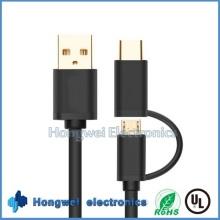 Neues Design Aluminium Micro und Typ C 2 in 1 USB Kabel
