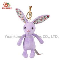 Orelha longa de brinquedo de pelúcia coelho chaveiro de pelúcia