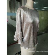 Spring Shiny Pleated Plain Falbala Sleeve Ladies Tops